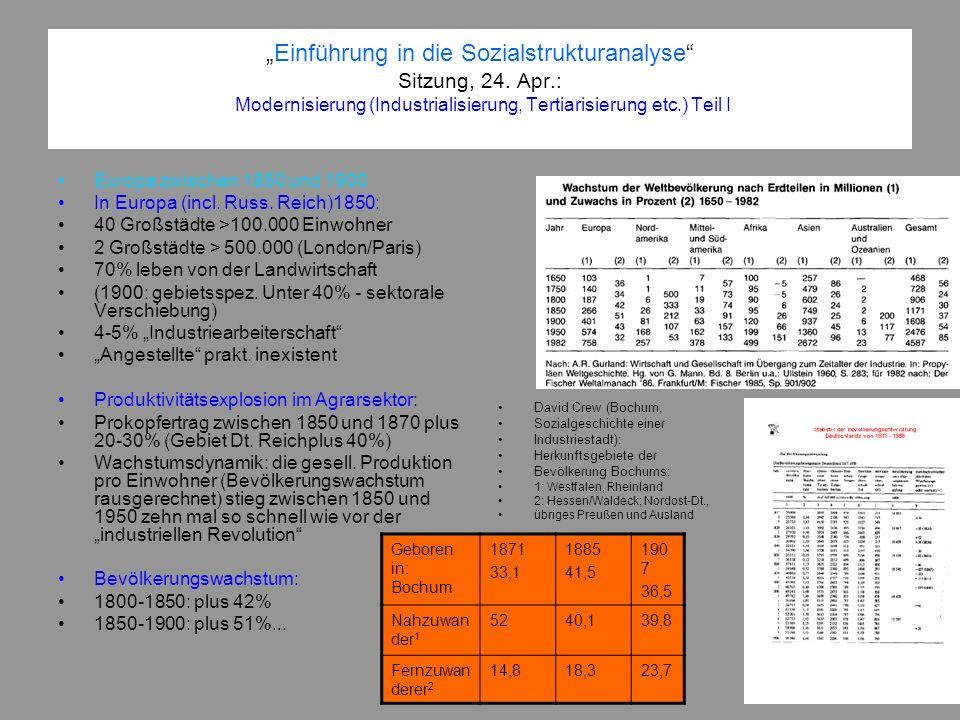 Einführung in die Sozialstrukturanalyse Sitzung, 24. Apr.: Modernisierung (Industrialisierung, Tertiarisierung etc.) Teil I Europa zwischen 1850 und 1