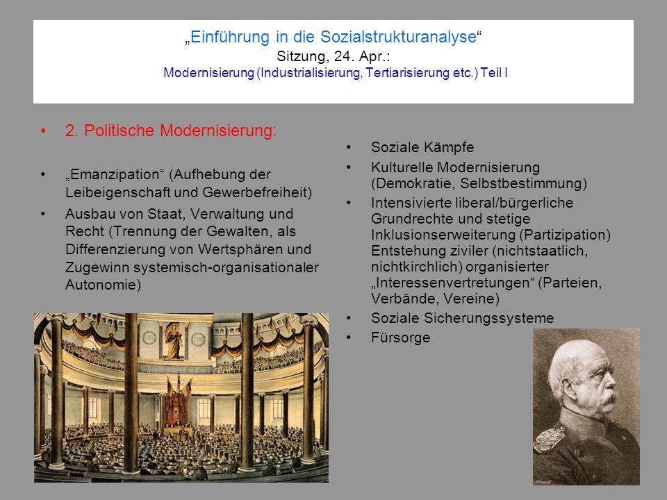 Einführung in die Sozialstrukturanalyse Sitzung, 24. Apr.: Modernisierung (Industrialisierung, Tertiarisierung etc.) Teil I 2. Politische Modernisieru
