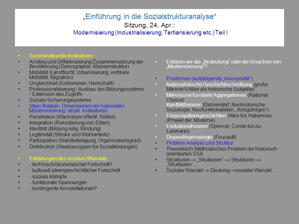 Einführung in die Sozialstrukturanalyse Sitzung, 24. Apr.: Modernisierung (Industrialisierung, Tertiarisierung etc.) Teil I Soziostrukturelle Indikato