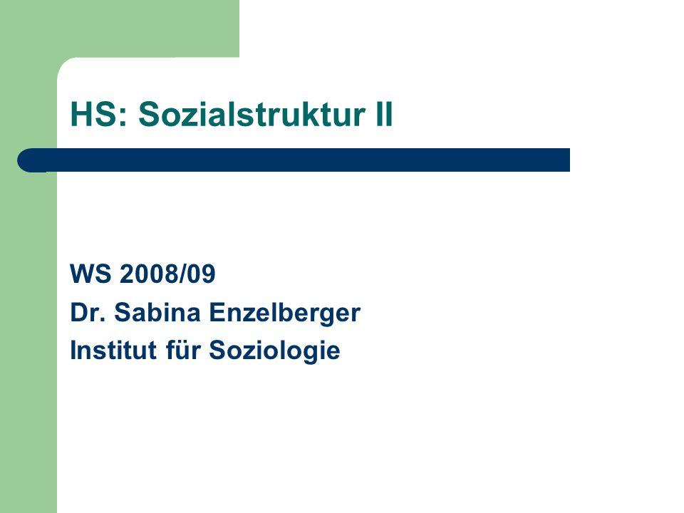 HS: Sozialstruktur II WS 2008/09 Dr. Sabina Enzelberger Institut für Soziologie