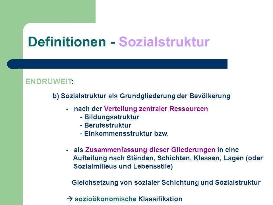 Definitionen - Sozialstruktur ENDRUWEIT: b) Sozialstruktur als Grundgliederung der Bevölkerung - nach der Verteilung zentraler Ressourcen - Bildungsst