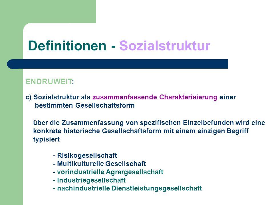 Definitionen - Sozialstruktur ENDRUWEIT: c) Sozialstruktur als zusammenfassende Charakterisierung einer bestimmten Gesellschaftsform über die Zusammen