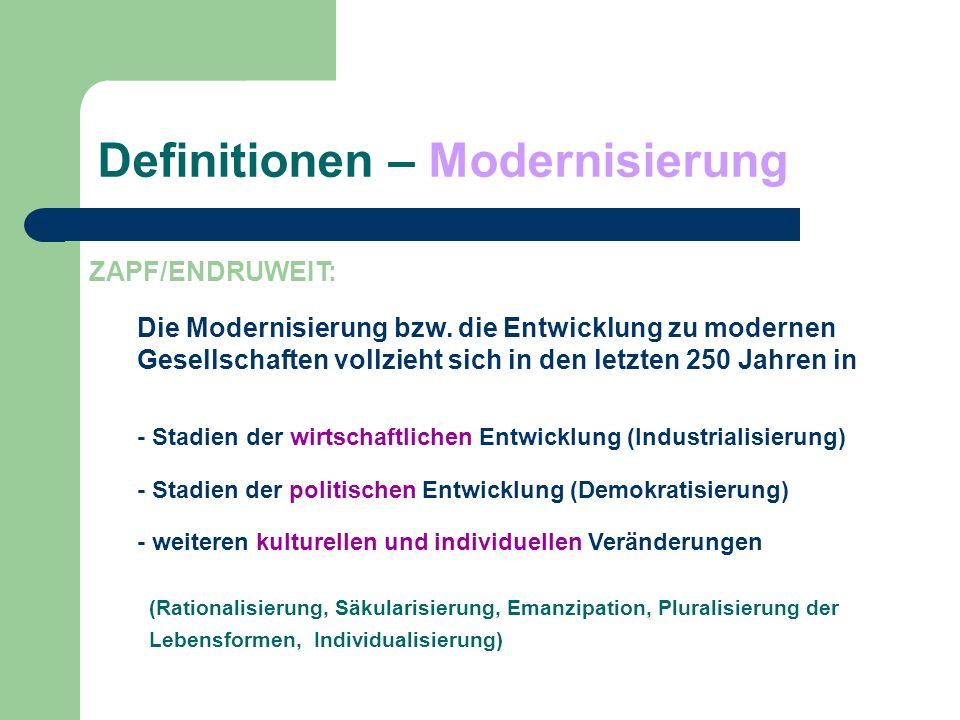 Definitionen – Modernisierung ZAPF/ENDRUWEIT: Die Modernisierung bzw. die Entwicklung zu modernen Gesellschaften vollzieht sich in den letzten 250 Jah