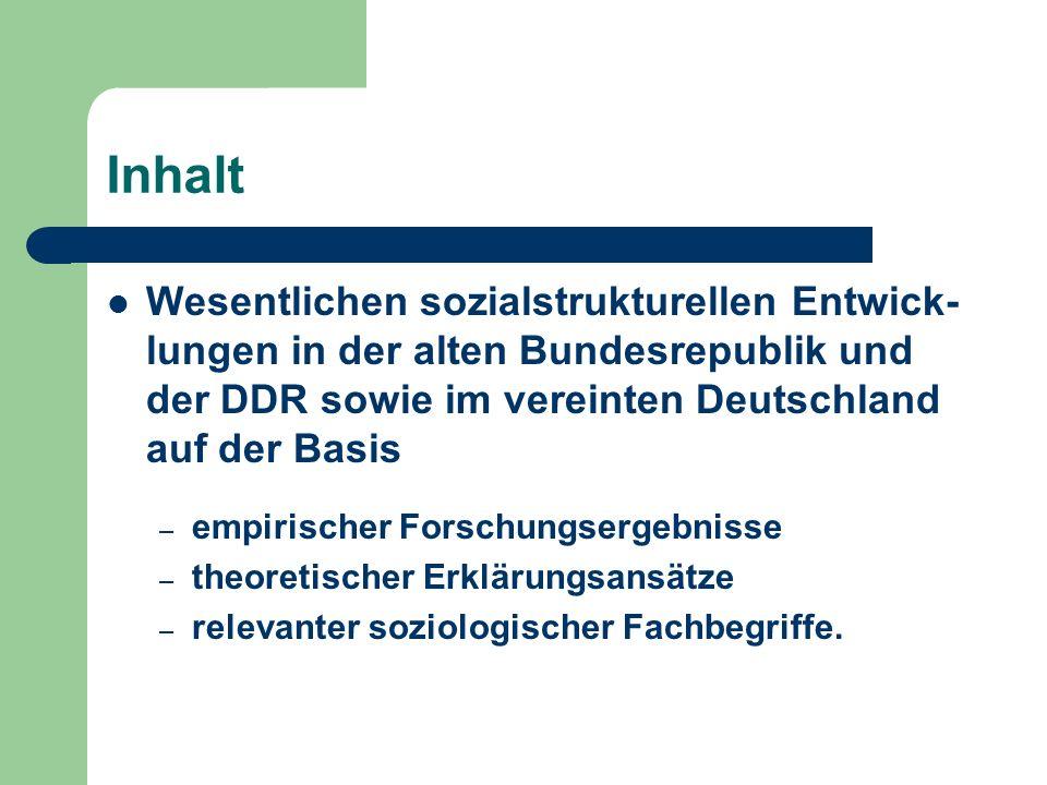 Inhalt Wesentlichen sozialstrukturellen Entwick- lungen in der alten Bundesrepublik und der DDR sowie im vereinten Deutschland auf der Basis – empiris