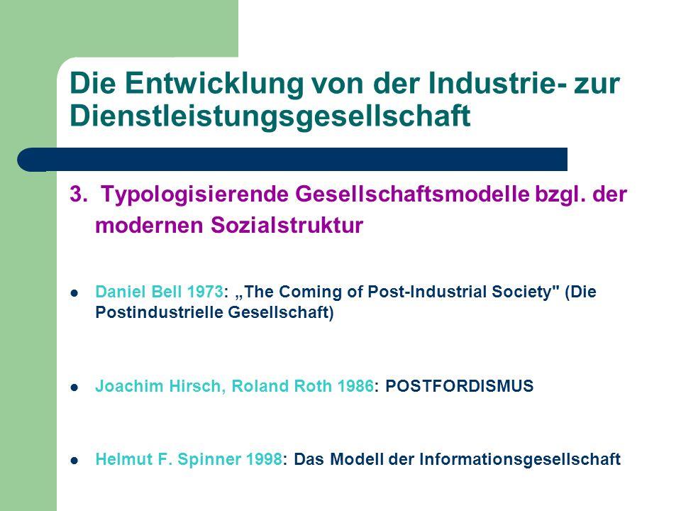 Die Entwicklung von der Industrie- zur Dienstleistungsgesellschaft 3. Typologisierende Gesellschaftsmodelle bzgl. der modernen Sozialstruktur Daniel B