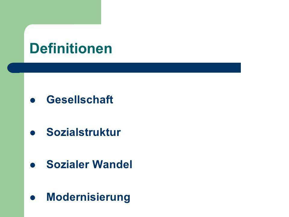 Definitionen Gesellschaft Sozialstruktur Sozialer Wandel Modernisierung