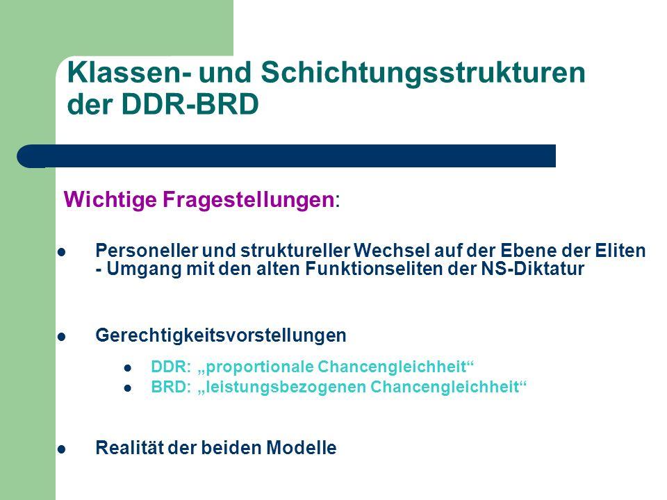 Klassen- und Schichtungsstrukturen der DDR-BRD Wichtige Fragestellungen: Personeller und struktureller Wechsel auf der Ebene der Eliten - Umgang mit d
