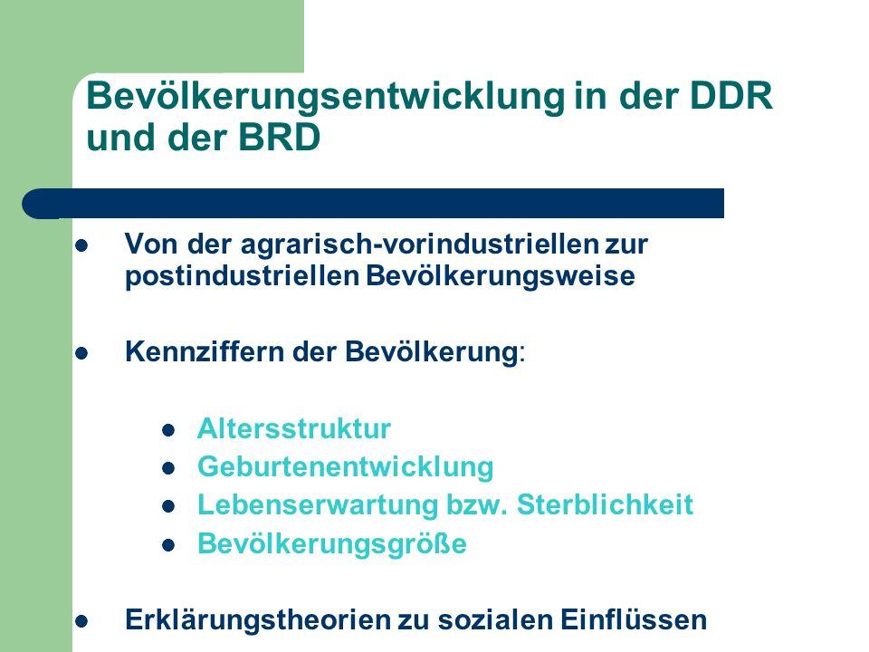 Bevölkerungsentwicklung in der DDR und der BRD Von der agrarisch-vorindustriellen zur postindustriellen Bevölkerungsweise Kennziffern der Bevölkerung: