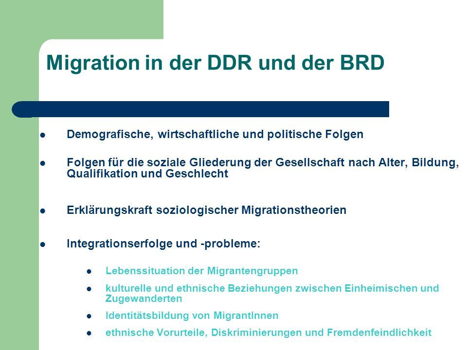 Migration in der DDR und der BRD Demografische, wirtschaftliche und politische Folgen Folgen für die soziale Gliederung der Gesellschaft nach Alter, B