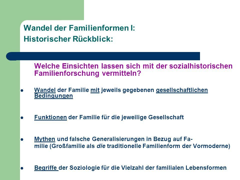Wandel der Familienformen I: Historischer Rückblick: Welche Einsichten lassen sich mit der sozialhistorischen Familienforschung vermitteln? Wandel der