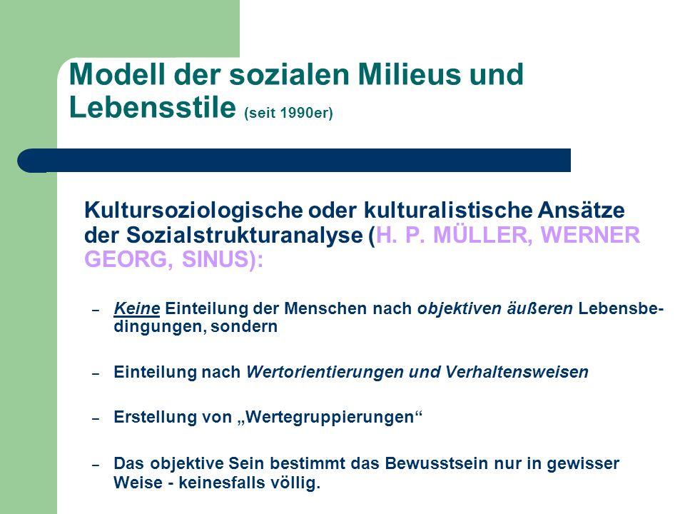 Modell der sozialen Milieus und Lebensstile (seit 1990er) Kultursoziologische oder kulturalistische Ansätze der Sozialstrukturanalyse (H. P. MÜLLER, W