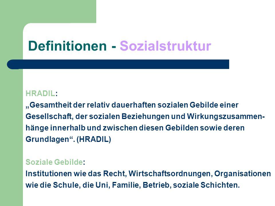 Definitionen - Sozialstruktur GEISSLER: auf abstrakt-formaler Ebene die Wirkungszusammenhänge in einer mehrdimensionalen Gliederung der Gesamtgesellschaft in unterschiedliche Gruppen nach wichtigen sozial relevanten Merkmalen sowie in den relativ dauerhaften sozialen Beziehungen dieser Gruppen untereinander.