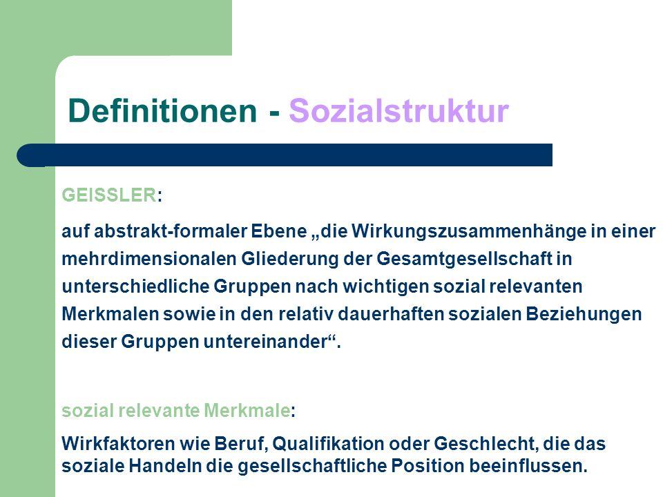 Definitionen - Sozialstruktur GEISSLER: Die Sozialstrukturanalyse zergliedert die Gesellschaft in ihre relevanten Elemente und Teilbereiche und untersucht die zwischen den Einzelelementen bestehenden relativ dauerhaften Wechselbeziehungen und Wirkungszusammenhänge.