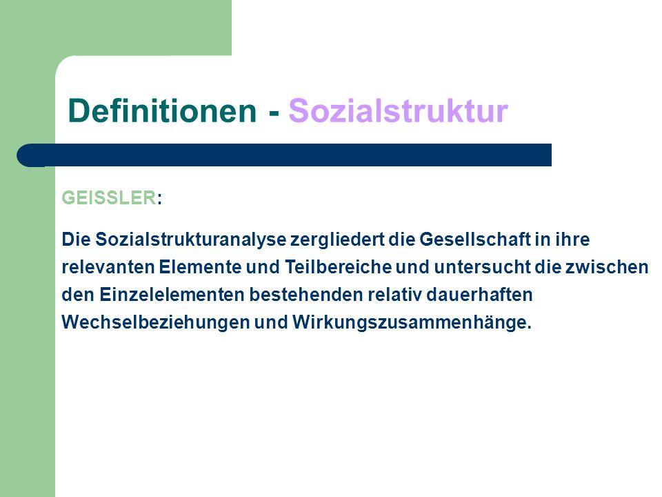 Definitionen - Sozialstruktur ENDRUWEIT: a)Sozialstruktur als soziodemografische Grundgliederung der Bevölkerung: Altersstruktur Geschlechtsstruktur Haushaltsstruktur sozialstatistische Aspekt der Klassifikation