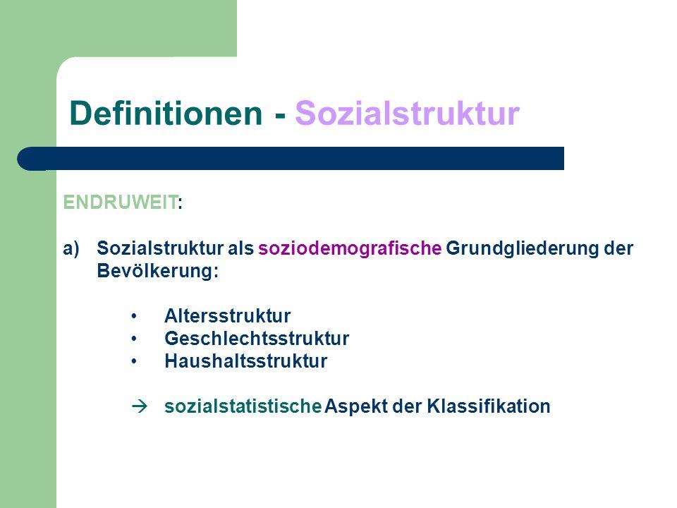 Definitionen - Sozialstruktur ENDRUWEIT: b) Sozialstruktur als Grundgliederung der Bevölkerung - nach der Verteilung zentraler Ressourcen - Bildungsstruktur - Berufsstruktur - Einkommensstruktur bzw.