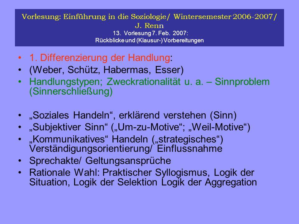 Vorlesung: Einführung in die Soziologie/ Wintersemester 2006-2007/ J. Renn 13. Vorlesung 7. Feb. 2007: Rückblicke und (Klausur-) Vorbereitungen 1. Dif
