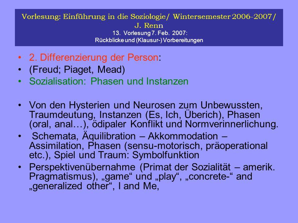 Vorlesung: Einführung in die Soziologie/ Wintersemester 2006-2007/ J. Renn 13. Vorlesung 7. Feb. 2007: Rückblicke und (Klausur-) Vorbereitungen 2. Dif