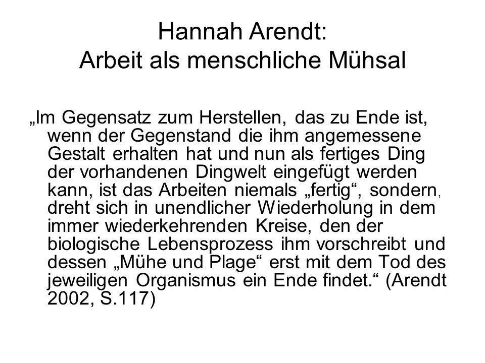Hannah Arendt: Arbeit als menschliche Mühsal Im Gegensatz zum Herstellen, das zu Ende ist, wenn der Gegenstand die ihm angemessene Gestalt erhalten ha