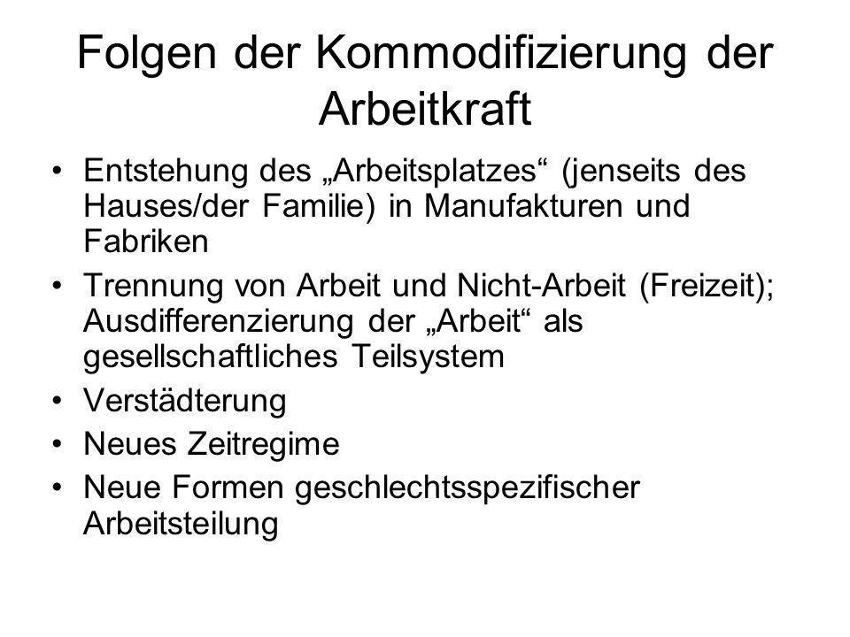 Folgen der Kommodifizierung der Arbeitkraft Entstehung des Arbeitsplatzes (jenseits des Hauses/der Familie) in Manufakturen und Fabriken Trennung von