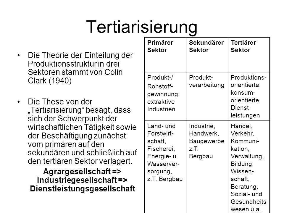 Tertiarisierung Die Theorie der Einteilung der Produktionsstruktur in drei Sektoren stammt von Colin Clark (1940) Die These von der Tertiarisierung be