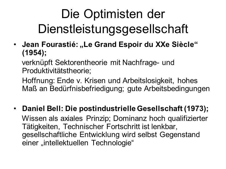 Die Optimisten der Dienstleistungsgesellschaft Jean Fourastié: Le Grand Espoir du XXe Siècle (1954); verknüpft Sektorentheorie mit Nachfrage- und Prod
