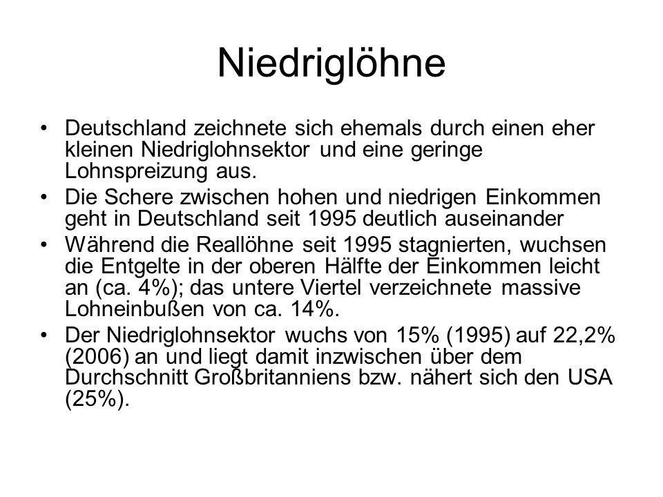 Niedriglöhne Deutschland zeichnete sich ehemals durch einen eher kleinen Niedriglohnsektor und eine geringe Lohnspreizung aus. Die Schere zwischen hoh