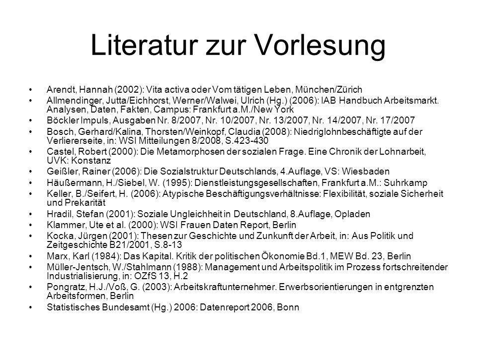 Literatur zur Vorlesung Arendt, Hannah (2002): Vita activa oder Vom tätigen Leben, München/Zürich Allmendinger, Jutta/Eichhorst, Werner/Walwei, Ulrich