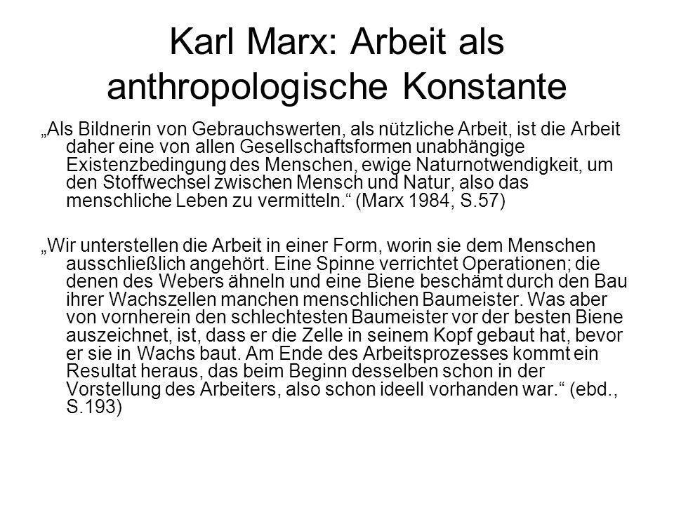 Karl Marx: Arbeit als anthropologische Konstante Als Bildnerin von Gebrauchswerten, als nützliche Arbeit, ist die Arbeit daher eine von allen Gesellsc