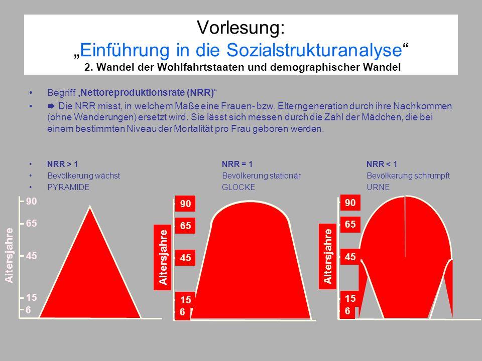 Vorlesung:Einführung in die Sozialstrukturanalyse 2. Wandel der Wohlfahrtstaaten und demographischer Wandel Begriff Nettoreproduktionsrate (NRR) Die N