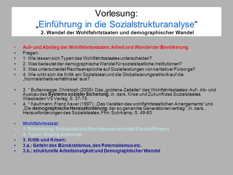 Vorlesung:Einführung in die Sozialstrukturanalyse 2. Wandel der Wohlfahrtstaaten und demographischer Wandel Auf- und Abstieg der Wohlfahrtsstaaten: Ar