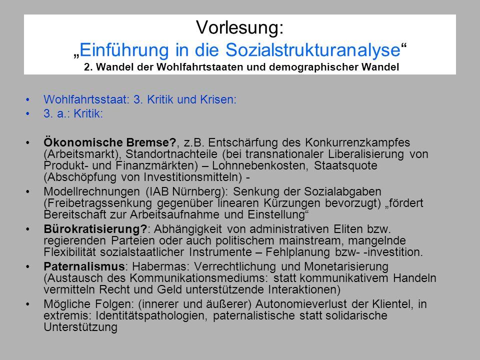 Vorlesung:Einführung in die Sozialstrukturanalyse 2. Wandel der Wohlfahrtstaaten und demographischer Wandel Wohlfahrtsstaat: 3. Kritik und Krisen: 3.