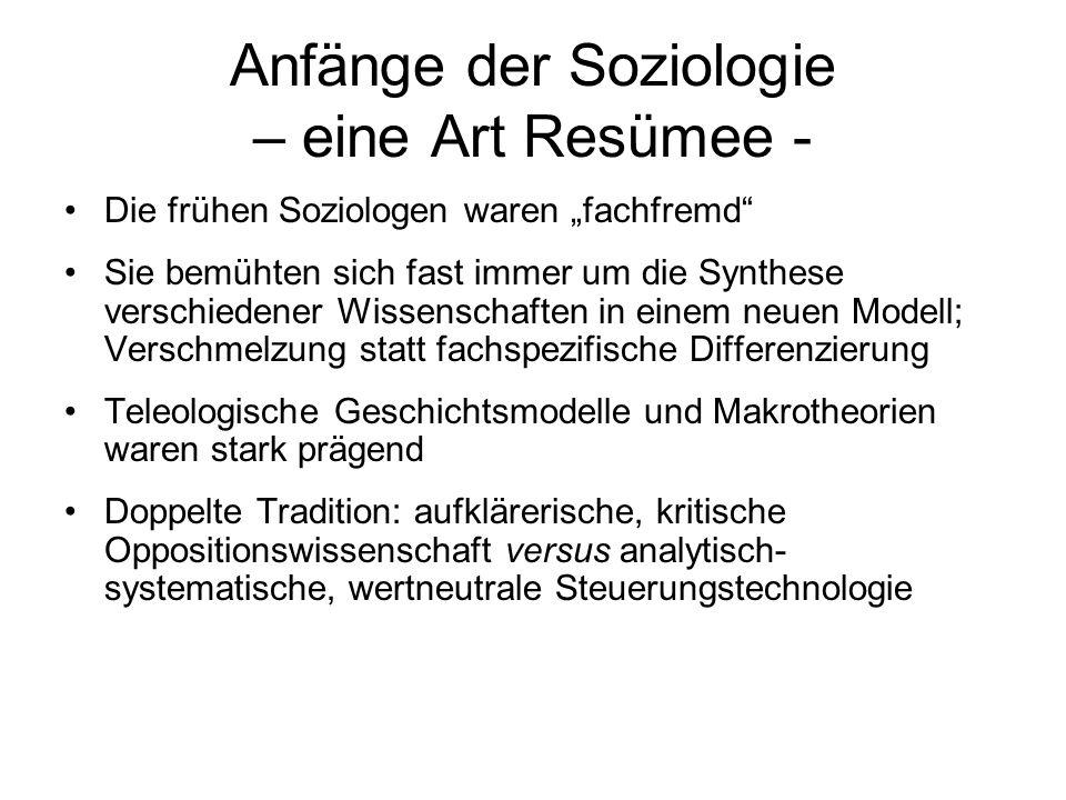 Anfänge der Soziologie – eine Art Resümee - Die frühen Soziologen waren fachfremd Sie bemühten sich fast immer um die Synthese verschiedener Wissensch