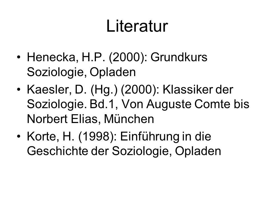 Literatur Henecka, H.P. (2000): Grundkurs Soziologie, Opladen Kaesler, D. (Hg.) (2000): Klassiker der Soziologie. Bd.1, Von Auguste Comte bis Norbert