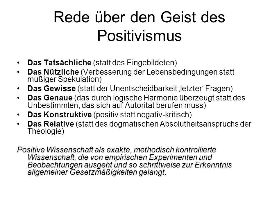 Rede über den Geist des Positivismus Das Tatsächliche (statt des Eingebildeten) Das Nützliche (Verbesserung der Lebensbedingungen statt müßiger Spekul