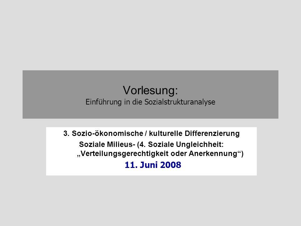 Vorlesung: Einführung in die Sozialstrukturanalyse 3. Sozio-ökonomische / kulturelle Differenzierung Soziale Milieus- (4. Soziale Ungleichheit: Vertei