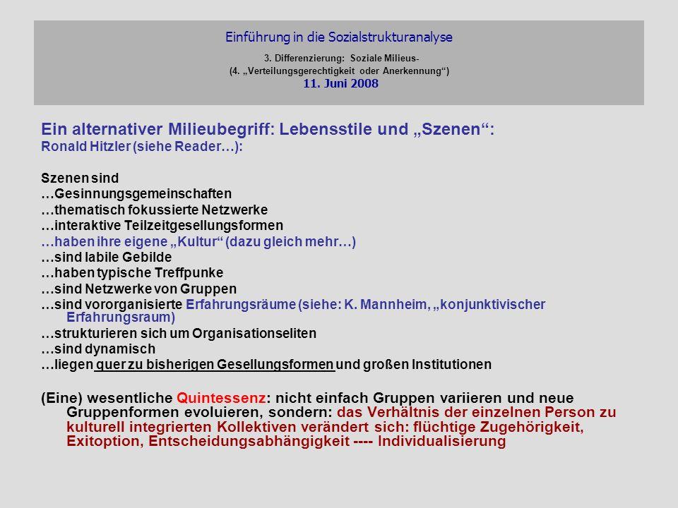 Einführung in die Sozialstrukturanalyse 3. Differenzierung: Soziale Milieus- (4. Verteilungsgerechtigkeit oder Anerkennung) 11. Juni 2008 Ein alternat