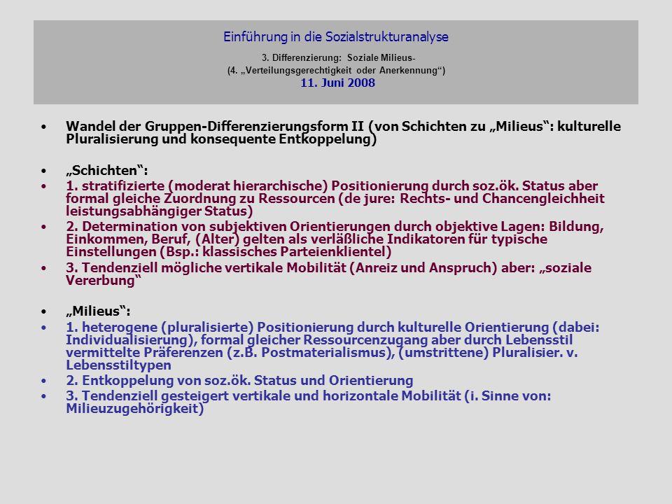 Einführung in die Sozialstrukturanalyse 3. Differenzierung: Soziale Milieus- (4. Verteilungsgerechtigkeit oder Anerkennung) 11. Juni 2008 Wandel der G