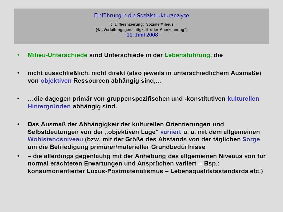 Einführung in die Sozialstrukturanalyse 3. Differenzierung: Soziale Milieus- (4. Verteilungsgerechtigkeit oder Anerkennung) 11. Juni 2008 Milieu-Unter