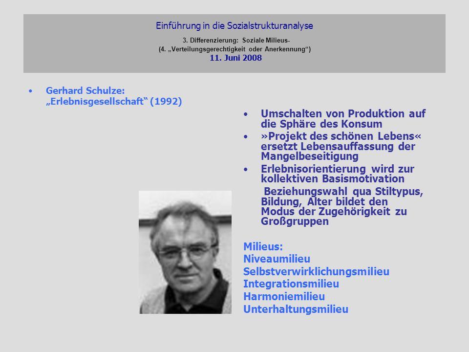 Einführung in die Sozialstrukturanalyse 3. Differenzierung: Soziale Milieus- (4. Verteilungsgerechtigkeit oder Anerkennung) 11. Juni 2008 Gerhard Schu