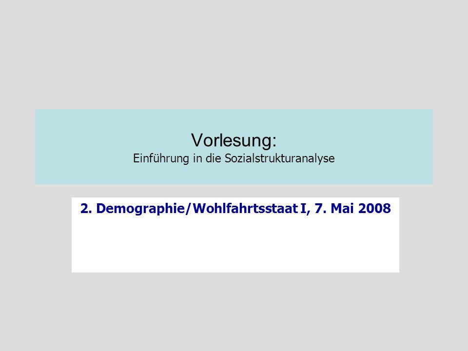 Vorlesung: Einführung in die Sozialstrukturanalyse 2. Demographie/Wohlfahrtsstaat I, 7. Mai 2008