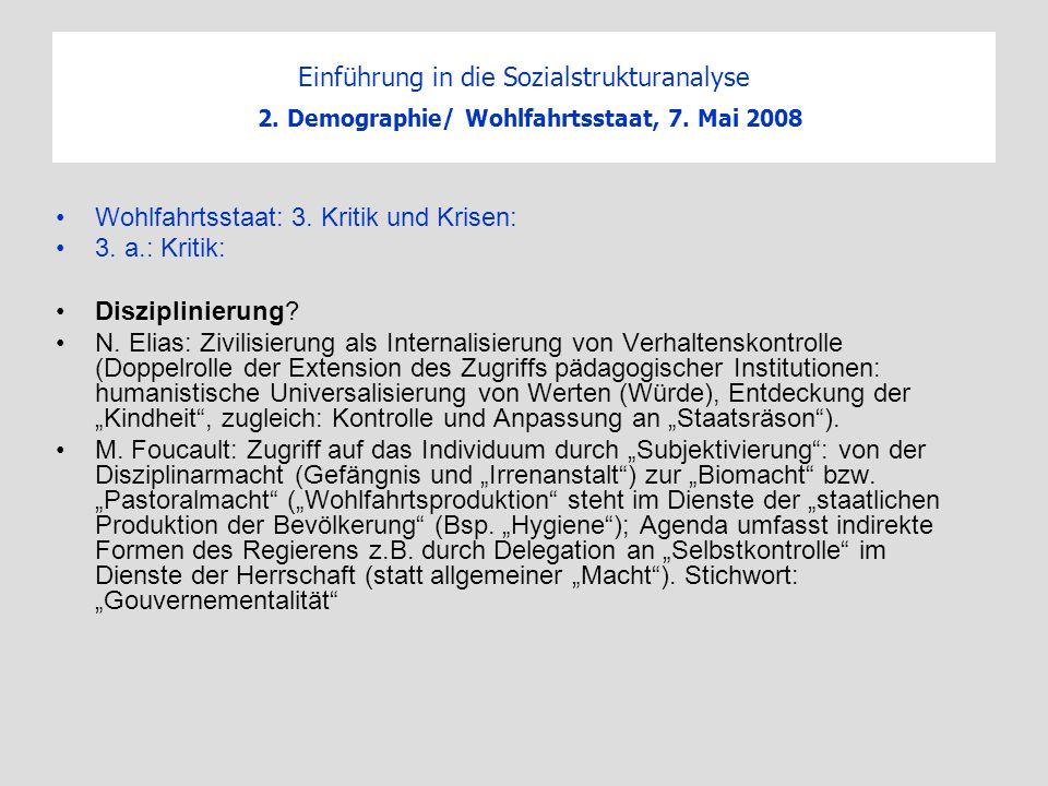 Einführung in die Sozialstrukturanalyse 2. Demographie/ Wohlfahrtsstaat, 7. Mai 2008 Wohlfahrtsstaat: 3. Kritik und Krisen: 3. a.: Kritik: Disziplinie
