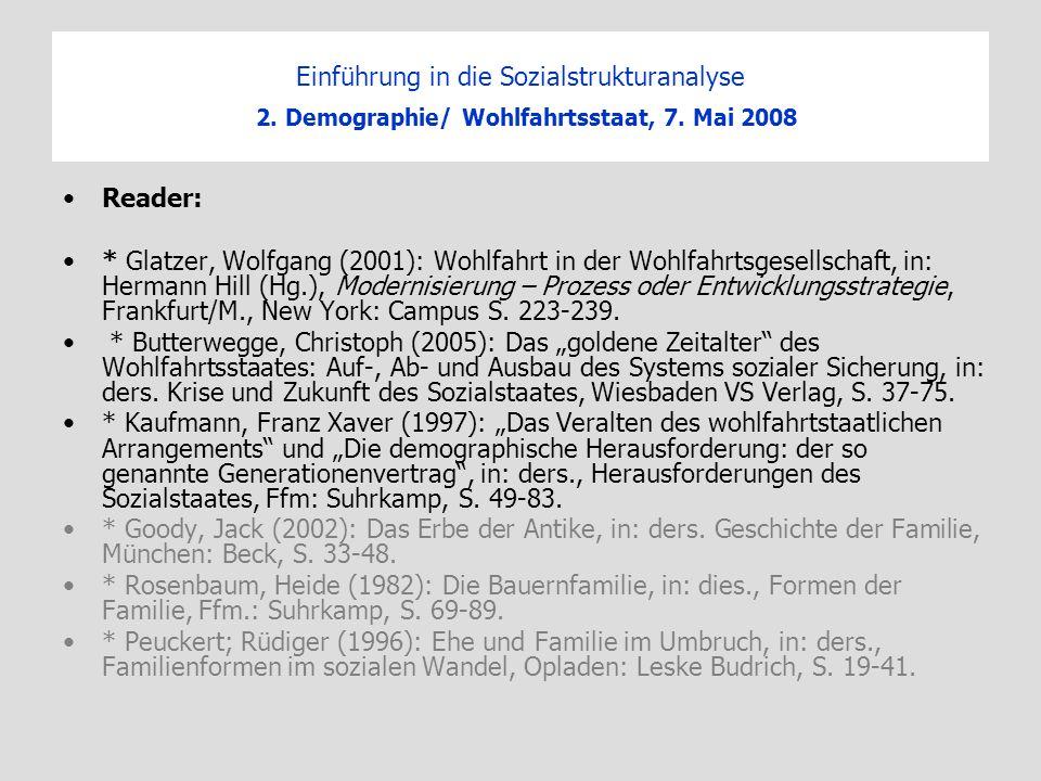Einführung in die Sozialstrukturanalyse 2. Demographie/ Wohlfahrtsstaat, 7. Mai 2008 Reader: * Glatzer, Wolfgang (2001): Wohlfahrt in der Wohlfahrtsge