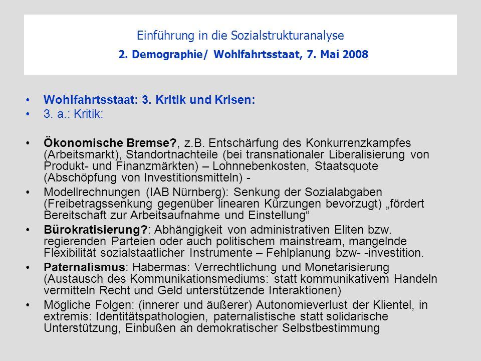 Einführung in die Sozialstrukturanalyse 2. Demographie/ Wohlfahrtsstaat, 7. Mai 2008 Wohlfahrtsstaat: 3. Kritik und Krisen: 3. a.: Kritik: Ökonomische