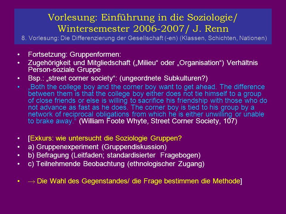Vorlesung: Einführung in die Soziologie/ Wintersemester 2006-2007/ J.