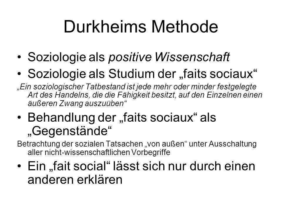 Durkheims Gesellschaftstheorie Zentrales Thema: Suche nach dem lien social Das conscience collective (Kollektivbewusstsein) und die Arbeitsteilung als Quelle gesellschaftlicher Solidarität sind zentral – in Abgrenzung z.B.