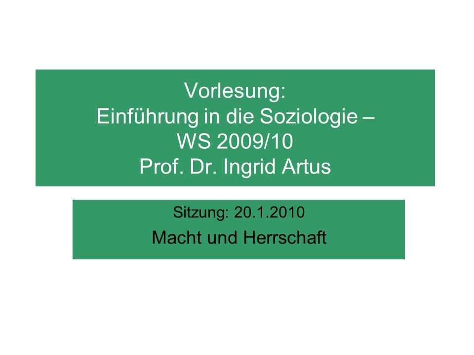 Vorlesung: Einführung in die Soziologie – WS 2009/10 Prof. Dr. Ingrid Artus Sitzung: 20.1.2010 Macht und Herrschaft