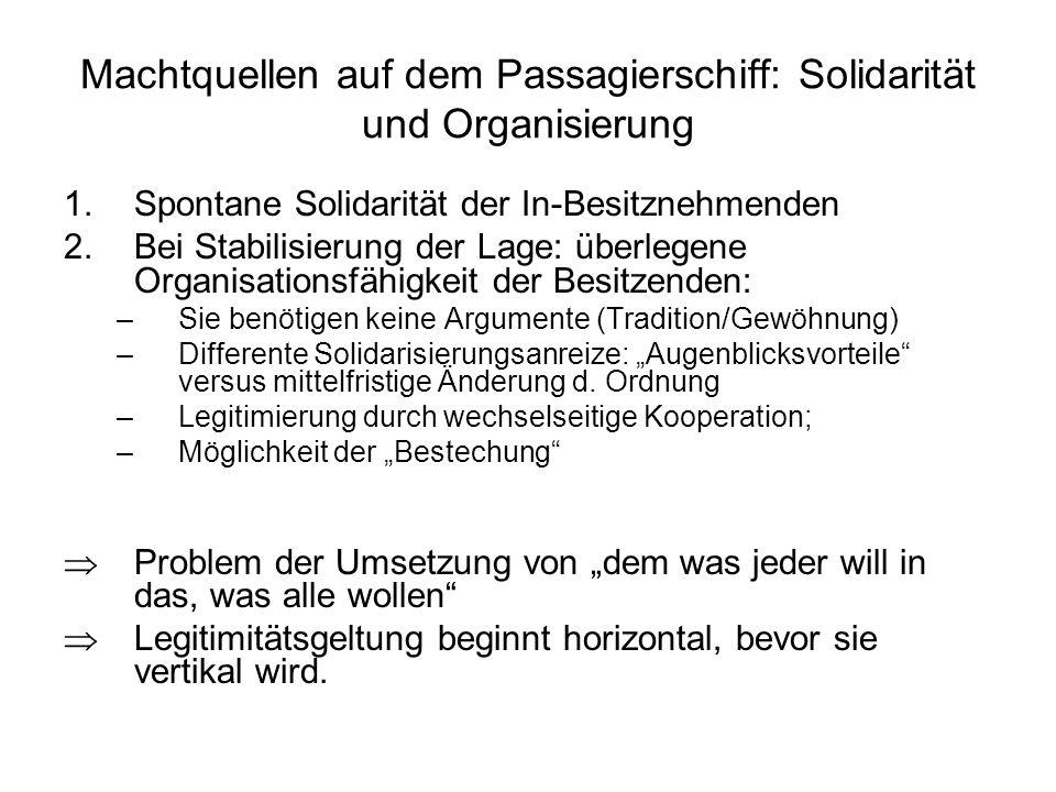 Machtquellen auf dem Passagierschiff: Solidarität und Organisierung 1.Spontane Solidarität der In-Besitznehmenden 2.Bei Stabilisierung der Lage: überl