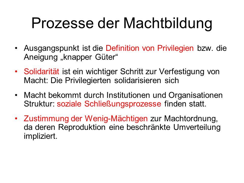 Prozesse der Machtbildung Ausgangspunkt ist die Definition von Privilegien bzw.