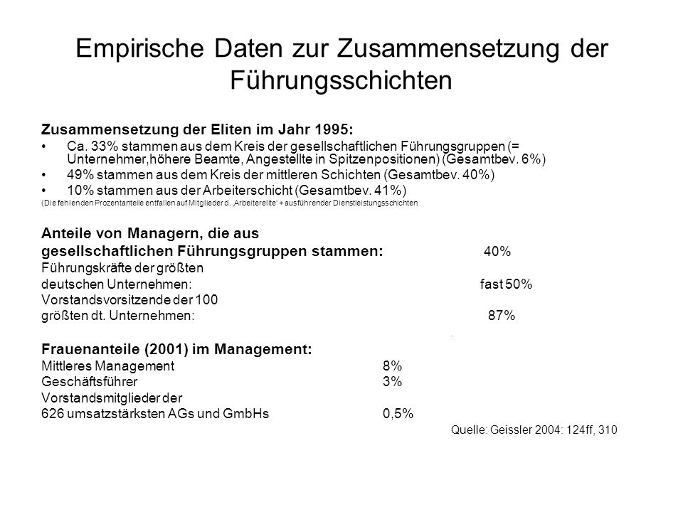 Empirische Daten zur Zusammensetzung der Führungsschichten Zusammensetzung der Eliten im Jahr 1995: Ca. 33% stammen aus dem Kreis der gesellschaftlich