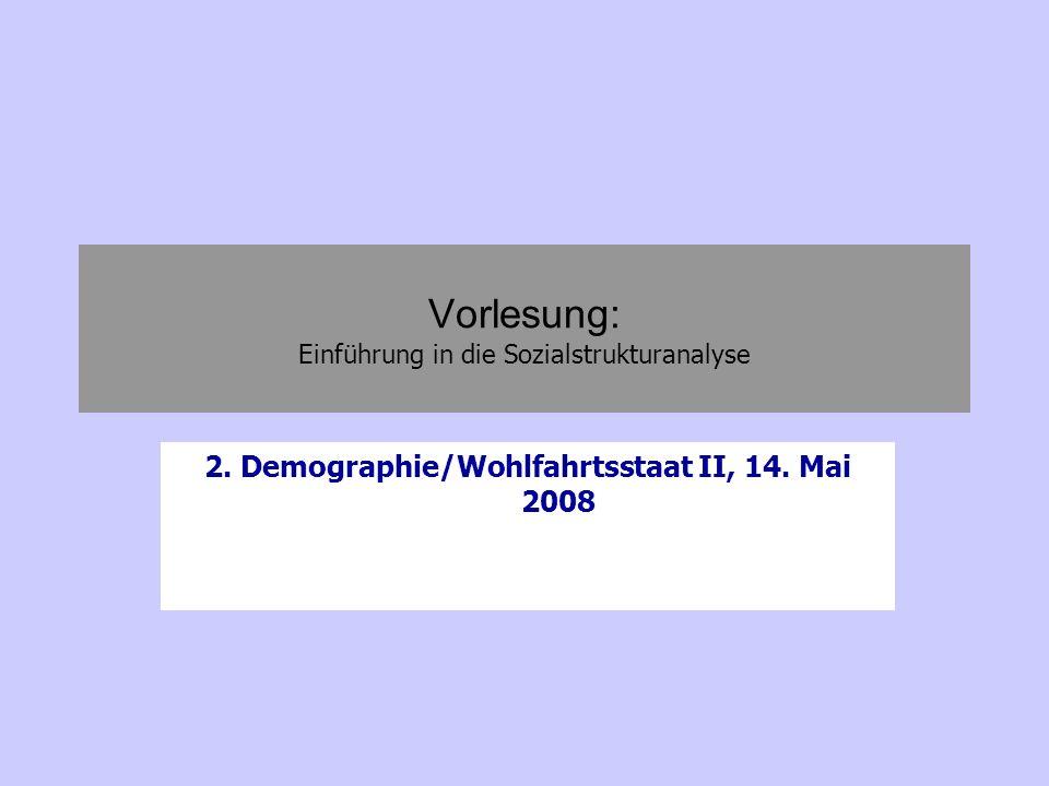 Vorlesung: Einführung in die Sozialstrukturanalyse 2. Demographie/Wohlfahrtsstaat II, 14. Mai 2008